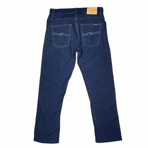 Nudie Jeans Grim Tim Organic Indigo Corduroy Pants Navy Blue Mens 30x34 (31x27)